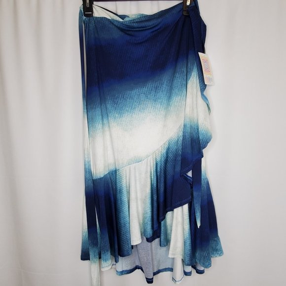 Bella Wrap Skirt Large Blue White Ombre